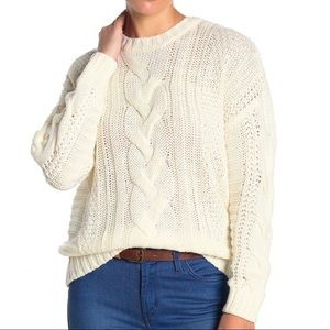One A cable chunky knit pullover sweater